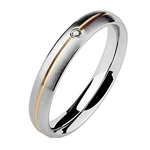 Paula & Fritz® Band Ring aus Chirurgenstahl Edelstahl 316L mit Streifen Roségold und einzelnem Stein verfügbare Ringgrößen 47 (15) - 61 (19,5)