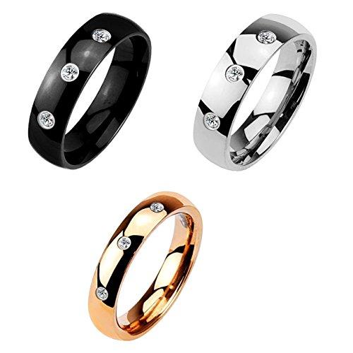 Paula & Fritz Klassischer Dom Ring aus Chirugenstahl Edelstahl 316L Silber, Schwarz, rosévergoldet mit Drei Zirkonia verfügbare Ringgrößen 47 (15) - 66 (21)