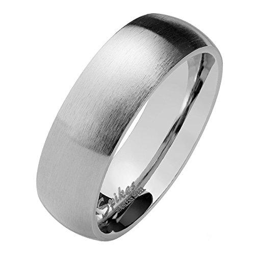 Paula & Fritz silber matt poliert 4mm 6mm 8mm BREITE Edelstahlring Damen-ring Verlobungs-ring Freundschaftsring Herrenring Partnerring verfügbare Ringgrößen 47 (15) – 75 (24)
