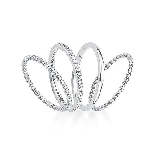 S.Oliver Damen Ring Set 925 Silber rhodiniert Zirkonia weiß