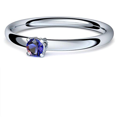 Saphir Ring Silber 925 (***sehr hochwertiger Saphir 3 mm***) + GRATIS Luxusetui Silberring blauer Stein Silberring Saphir Saphirringe Ringe Damen Schmuck AM161 SS925SAFA