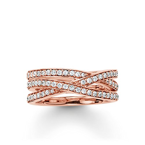 THOMAS SABO Damen Eternityring Ring 925er Sterlingsilber; 750er Roségold Vergoldung TR2012-416-14