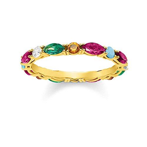 THOMAS SABO Damen Ring Farbige Steine 925er Sterlingsilber; 750er Gelbgold Vergoldung TR2185-488-7