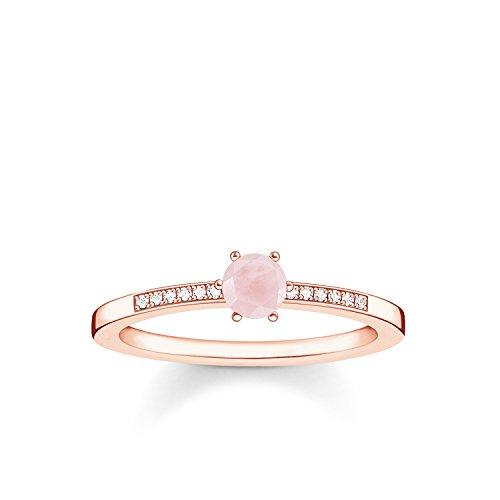 THOMAS SABO Damen Ring Rosa Stein 925er Sterlingsilber; 750er Roségold Vergoldung D_TR0010-925-9