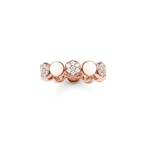 THOMAS SABO Damen Ring TR2048-416-14 Ring 925er Sterlingsilber; 750er Roségold Vergoldung Zirkonia Pavé Weiß Roségoldfarben, Weiß