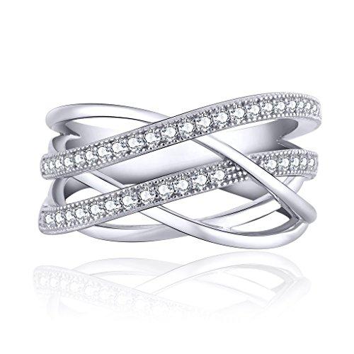 YH Schmuck Damen Verlobungs Ringe 925 Sterling Silber mit Swarovski Kristall Zirkonia Eheringe Breiten Ring Damen Frauen Geschenk