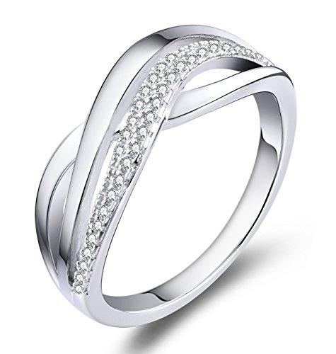 YL Damen Ring-925 Sterling Silber mit Zirkonia Weißes Gold überzogen Crisscross Ring Schmuck