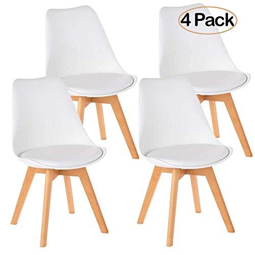 Ambiendi 4er Set Esszimmerstühle mit Massivholz Buche Bein Retro Design Gepolsterter Stuhl Küchenstuhl Holz Weiß