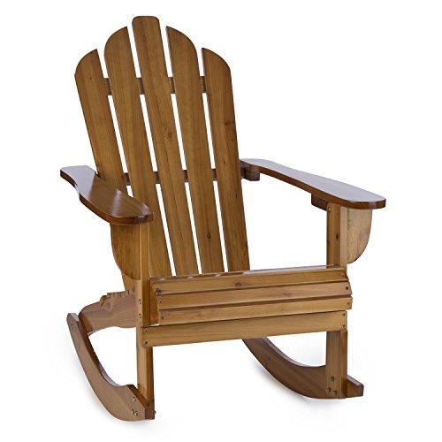 Blumfeldt Rushmore • Schaukelstuhl • Schwingsessel • Gartenstuhl • Retro-Stuhl • Tannenholz • hohe Rückenlehne • tiefe Sitzfläche • breite Armlehnen • Vintage-Look • amerikanischer Adirondack • witterungsbeständige Schutzlasur dank 3-fach PU-Lackierung • braun