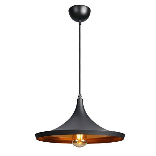 CCLIFE LED Industrial Pendellampe Pendelleuchte Hängelampe Deckenlampe Hängeleuchte Vintage Retro für Küchen Esszimmer Schwarz 36cm E27 Leuchtmittel 60W