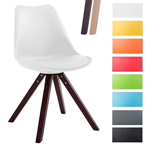 CLP Design Retro-Stuhl TOULOUSE SQUARED mit Kunstlederbezug und hochwertigem Sitzpolster   Kunstoff-Lehnstuhl mit Holzgestell   In verschiedenen Farben Weiß, Holzgestell Farbe cappuccino, Bein-Form eckig