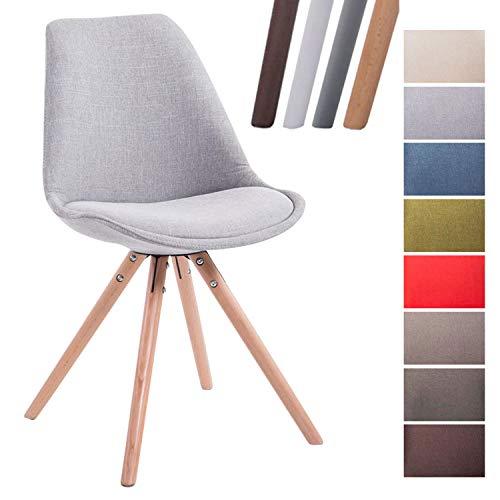 CLP Design Retro-Stuhl Toulouse Rund mit Stoffbezug und hochwertigem Sitzpolster I Lehnstuhl mit stabilem Holzgestell I Sitzhöhe 48 cm Grau, Natura