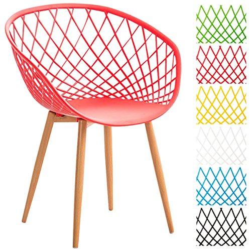 CLP Esszimmerstuhl MORA mit Pflegeleichter Kunststoff-Sitzschale I Retrostuhl mit Lehne und Einem Metallgestell in Holzoptik I In Verschiedenen Farben erhältlich Rot
