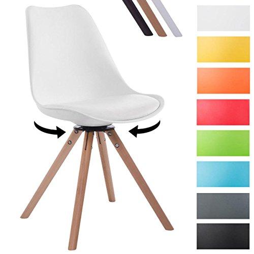 CLP Retrostuhl TROYES RUND mit Kunstlederbezug und Hochwertiger Sitzfäche I Stuhl mit drehbarem Schalensitz und massiven Holzbeinen Weiß, Holzgestell Farbe Natura, Form rund