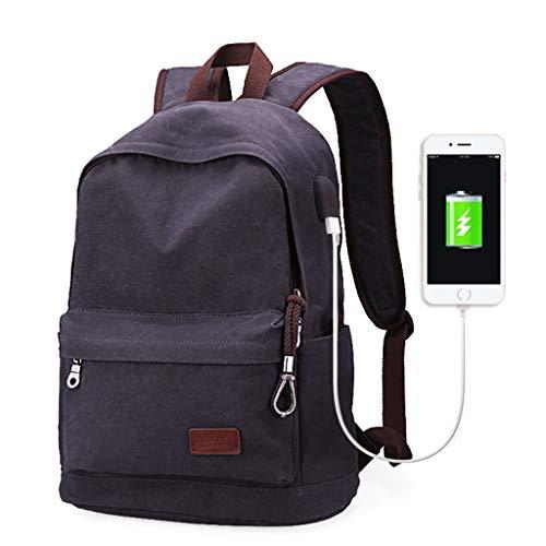 CXQ Mode-Trend Männer und Frauen einfache dunkelgrau Leinwand Rucksack Freizeit Reisen Rucksack Student Tasche USB Lade Schnittstelle Rucksack