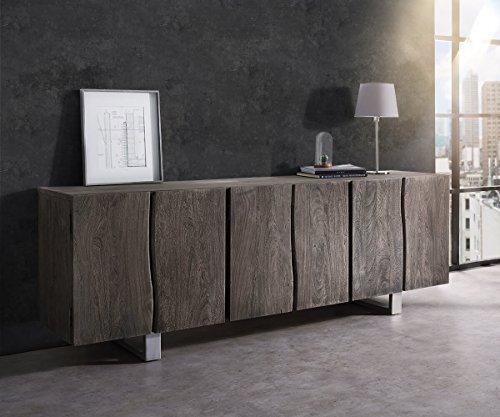 DELIFE Kommode Live-Edge Akazie Platin 220 cm 6 Türen Massivholz Baumkante Sideboard