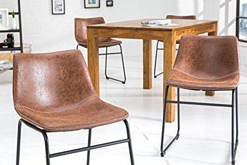 DuNord Design Stuhl Esszimmerstuhl PONTIUS Mikrofaser Vintage braun Eisengestell Küchenstuhl