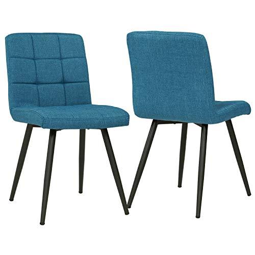 Duhome 2er Set Esszimmerstuhl aus Stoff Blau Farbauswahl Stuhl Retro Design Polsterstuhl mit Rückenlehne Metallbeine 8043B