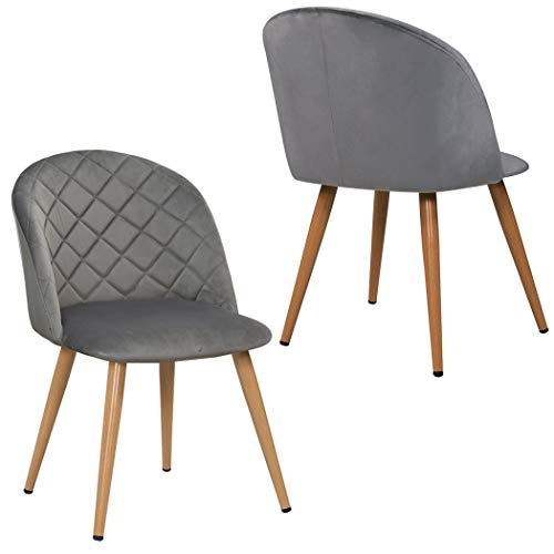 Duhome 2er Set Esszimmerstuhl aus Stoff SAMT Grau Stuhl Retro Design Polsterstuhl mit Rückenlehne Metallbeine Farbauswahl 8052B