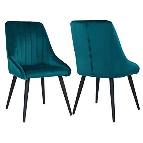 Duhome 2er Set Esszimmerstuhl aus Stoff SAMT Petrol Grün Blau Stuhl Retro Design Polsterstuhl mit Rückenlehne Metallbeine Farbauswahl 8066