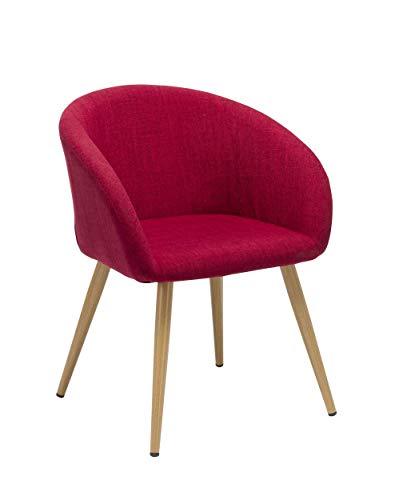 Duhome Elegant Lifestyle Esszimmerstuhl aus Stoff (Leinen) Rot Retro Design Stuhl mit Rückenlehne Metallbeine Holzoptik DH0010