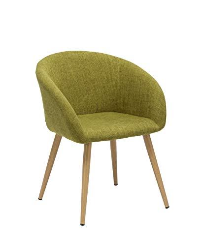 Duhome Elegant Lifestyle Esszimmerstuhl aus Stoff (Leinen) Senf-Gelb Grün Retro Design Stuhl mit Rückenlehne Metallbeine Holzoptik DH0009