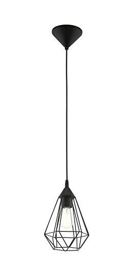 Eglo 94187 Hängeleuchte Tarbes in schwarz Stahl 1X60W H:110 Ø 17,5cm