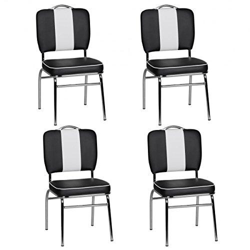 FineBuy 4er Set Esszimmerstühle King American Diner 50er Jahre Retro 4 Stühle | Sitzfläche gepolstert mit Rücken-Lehne | Essstuhl Sitzhöhe 76 cm | Farbe Schwarz Weiß