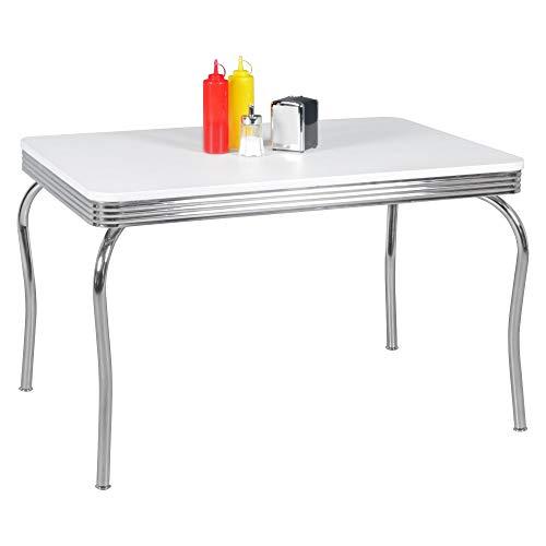 FineBuy KING - American Diner Esstisch 120 x 76 x 80 cm aus MDF/Aluminium | Retro Küchentisch USA in Weiß/Silber | Robuster Bistro-Tisch im Stil der 50er Jahre | Esszimmertisch mit Untergestell aus verchromtem Alu