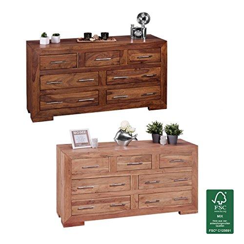 FineBuy Sideboard Massivholz mit 7 Schubladen | Kommode 140 x 75 x 44 cm im Landhausstil | Design Anrichte aus Naturholz | Moderner Dielenschrank aus echtem Holz mit edlen Metallgriffen
