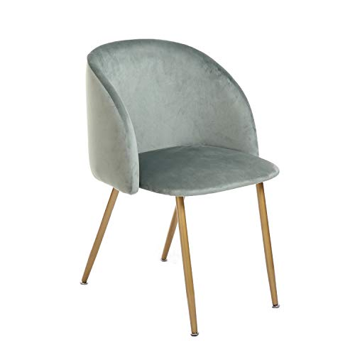 H.J WeDoo 1er Set Vintager Retro Esszimmerstuhl Sessel Polstersessel SAMT Lounge Stuhl Clubsessel Fernsehsessel mit Metall Gold Beine, in Verschiedenen Farben erhältlich - Grün