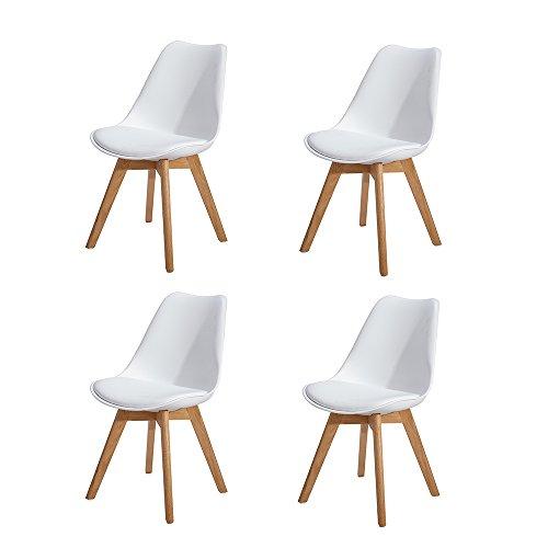 H.J WeDoo 4er Set Esszimmerstühle mit Massivholz Eiche Bein, Küchen stühle mit Gepolsterter für ESS und Wohnzimmer - Weiß