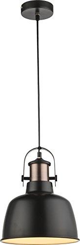 Hängelampe Vintage 1-Flammig Hängeleuchte Pendelleuchte Esszimmerlampe Metall Schwarz (Industrie Pendellampe, Küchenlampe, 23 cm, Höhe 120 cm, Textilkabel Schwarz)