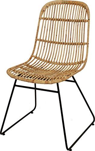 Korb-Stuhl im Retro-Stil aus echtem Rattan mit Eisen-Fußgestell