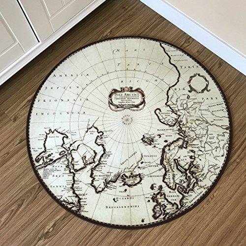 LILISHANGPU Kreative Cartoon Erde Teppich Retro-Stil Matte Cartoon Kinder Mode Runde Teppich Schlafzimmer Drehstuhl Kissen Computer Stuhl Kissen (größe : 60*60cm)