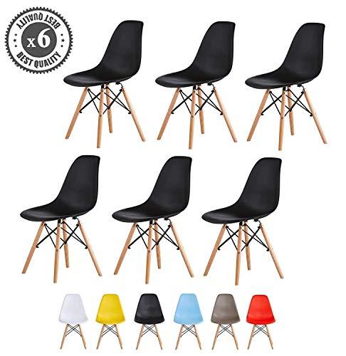 MCC Kunststoffstühle mit Holzbeinen, Eiffelturm-Design Streben, Retro Lounge-Esstisch, Büro, 6er-Set, Schwarz , set 6