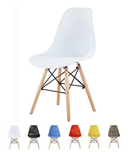 MCC Retro Design Stühle Lia im 6er Set, Eiffelturm inspirierter Style für Küche, Büro, Lounge, Konferenzzimmer Etc, 6 Farben, Kult (Weiß)