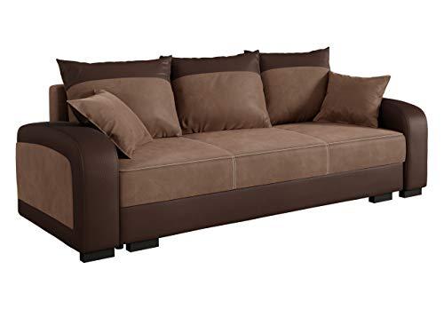 mirjan24 couch zumi mit schlaffunktion polstersofa mit bettkasten inkl kissen set schlafsofa. Black Bedroom Furniture Sets. Home Design Ideas