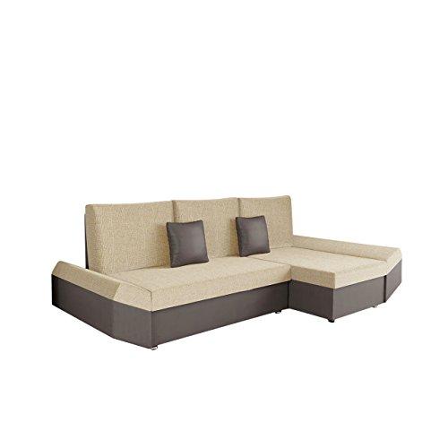 Mirjan24  Ecksofa Moric Eckcouch Sofa mit Schlaffunktion und Bettkasten! Ottomane Universal, inkl. Kissen Couch, Schlafsofa Bettsofa vom Hersteller (Soft 024 + Valencia 205)