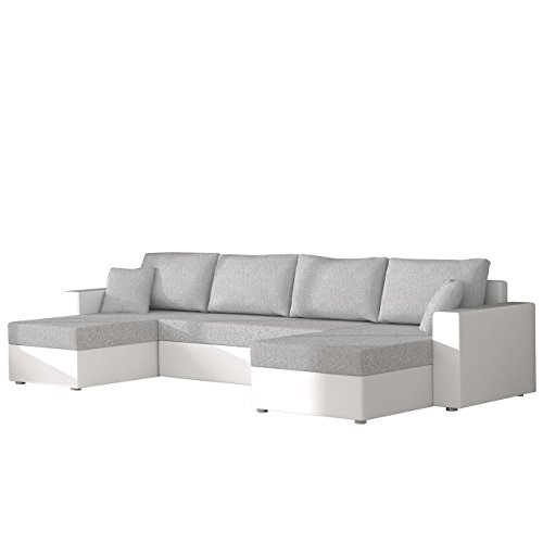 Mirjan24  Ecksofa Sofa Couchgarnitur Couch Rumba! Wohnlandschaft mit Schlaffunktion und Bettkasten, Ecksofa in U-Form, Polstermöbel, Farbauswahl, Kissen-Set (Soft 017 + Bristol 2460)