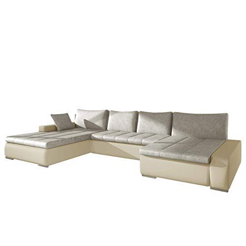 Mirjan24  Outlet !! Ecksofa Caro, Elegante U-Form Couch, Eckcouch mit Bettkasten und Schlaffunktion, Polsterecke, Couchgarnitur, Bettsofa für Wohnzimmer Wohnlandschaft (Soft 018 + Forever 60)