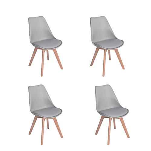 Naturelifestore 4er Set Esszimmerstühle mit Massivholz Buche Bein, Retro Design Gepolsterter lStuhl Küchenstuhl Holz,Grau