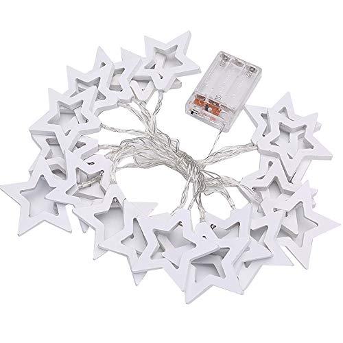 ODJOY-FAN 1M / 2M / 3M LED String Lights, Star Klein Beleuchtung Zeichenfolge Batterie Hölzern Fee Zeichenfolge Licht Party Dekor Licht Holzstern LED Zeichenfolge Licht (Weiß,S)