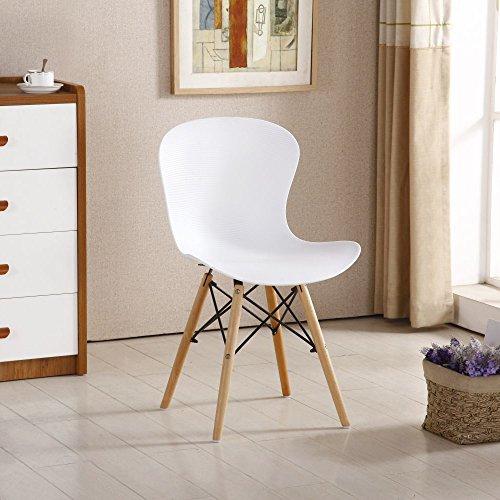 P & N Homewares Alessia Eiffel Stuhl aus Kunststoff Gerippter Retro Weiß Schwarz Grau Rot Gelb Pink Grün Blau weiß