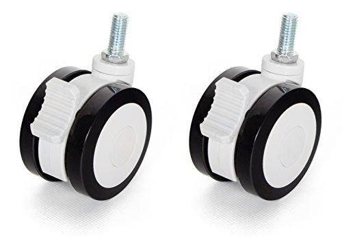 RICOO Rollen für Möbel WMZ001 Möbelrollen Schwenkrollen Lenkrollen mit Bremse Feststeller Klein Kunststoff Schwarz Weiß 360 Grad Drehbar 2 Stück Set