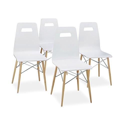 Relaxdays Design Stuhl 4-er Set ARVID, Holz, Esszimmer-Stuhl, modern, HxBxT: 92 x 43 x 40 cm, Retro, weiß