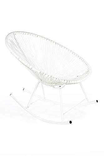 Retro Acapulco Lounge Relax Schaukelstuhl Rocking Chair Indoor Outdoor All White
