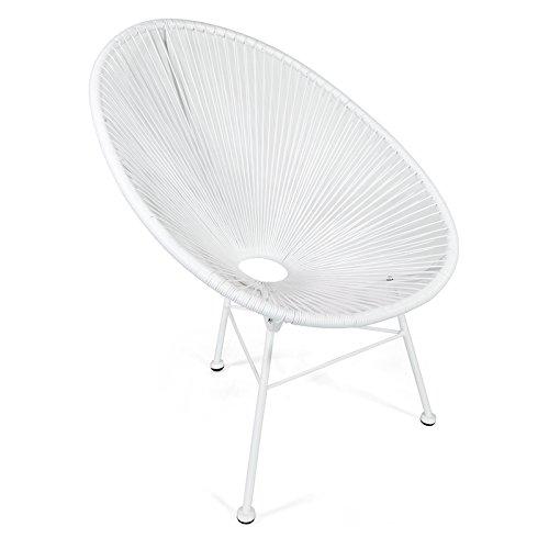 Retro Acapulco Lounge Relax Sessel, Indoor & Outdoor Rahmen & Füße Pulverbeschichtet, Farbe All White