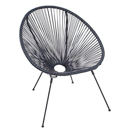 Riess Ambiente Moderner Acapulco Sessel schwarz Gartenstuhl Wetterfest Outdoorstuhl Relaxsessel Stuhl