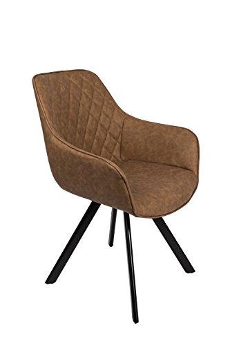 SAM® Stilvoller Armlehnstuhl Amelie, Kunstlederbezug in Tabac, abgestepptes Design, schwarze Beine aus Metall, bequemer Sitzkomfort, Esszimmer-Stuhl